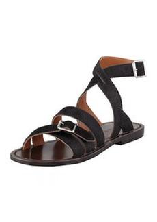 Marni Flat Calf Hair Sandal, Black