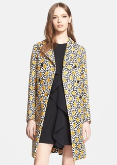 Marni Floral Print Cotton Blend Double Breasted Coat