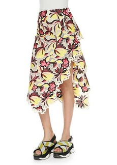 Marni Floral-Print Eyelet-Trim Asymmetric Skirt, Orange/Red