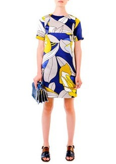 Marni Floral-Print Satin Dress