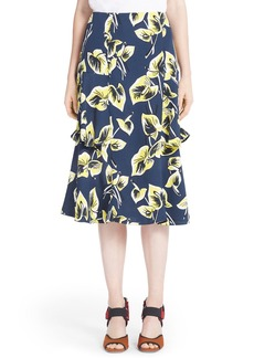 Marni Floral Print Tiered Skirt
