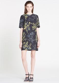 Marni Floral Scroll Print Wool & Silk Shift Dress