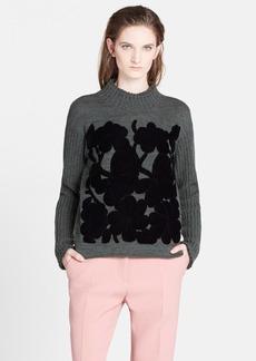 Marni Floral Velvet Appliqué Cashmere Sweater