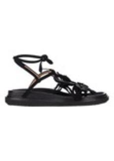 Marni Flower-Embellished Ankle-Wrap Sandals