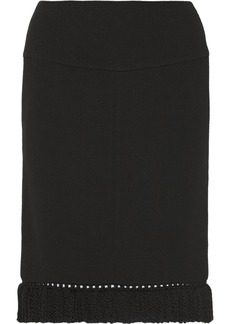 Marni Fringed wool-crepe pencil skirt
