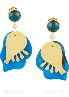 Marni Gold-tone, horn and resin clip earrings
