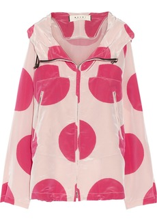 Marni Hooded polka-dot satin-shell jacket