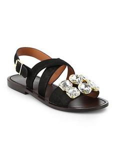 Marni Jeweled Calf Hair Slingback Sandals