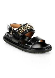 Marni Jeweled Leather Slingback Platform Flat Sandals