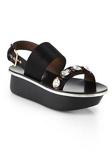 Marni Jeweled Satin Platform Sandals