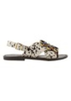 Marni Jeweled Slingback Flat Sandals