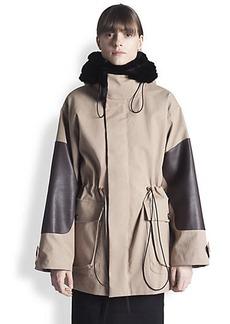 Marni Leather & Fur-Trimmed Parka