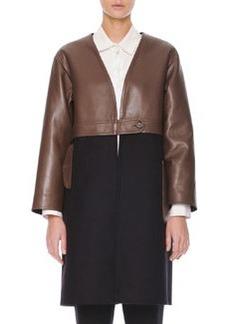 Marni Leather/Felt Long Coat