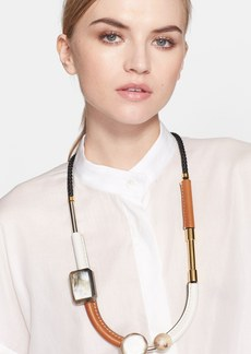 Marni Long Leather, Metal & Horn Necklace