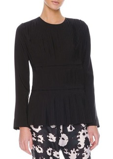 Marni Long Sleeve Tiered Plisse-Front Blouse, Coal Black