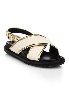 Marni Metallic-Trimmed Leather Criss-Cross Sandals