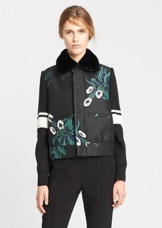 Marni Mokara Print Bonded Raffia Jacket with Genuine Mink Fur Collar
