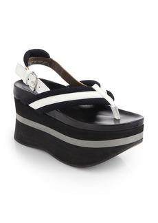 Marni Patent Leather & Canvas Platform Sandals