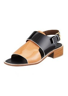 Marni Patent Low-Heel Sandal, Brown/Black