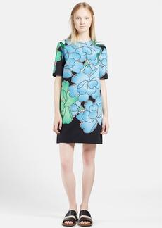 Marni Peony Print Cotton Linen Shift Dress