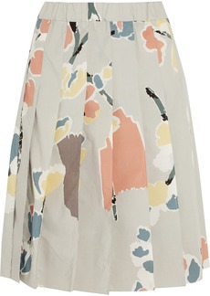 Marni Pleated printed cotton skirt