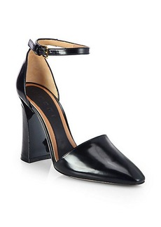 Marni Polished Leather Ankle-Strap Pumps
