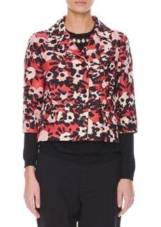 Marni Poppy Floral-Print 3/4-Sleeve Jacket