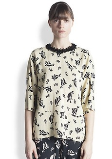 Marni Printed Bead-Neck Blouse
