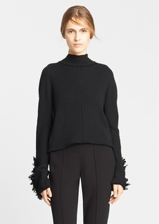 Marni Raw Edge Sweater with Sequin Embroidered Cuffs