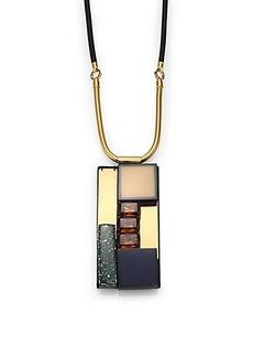 Marni Rectangular-Pendant Cord Necklace