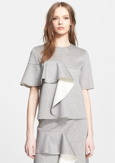 Marni Ruffle Detail Bonded Jersey Short Sleeve Top