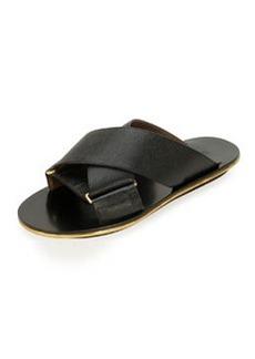 Marni Saffiano Crisscross Slide Sandal, Coal