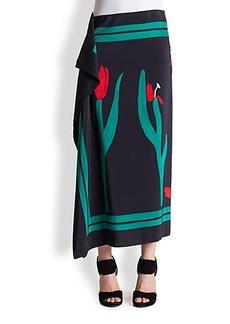 Marni Silk Tulip-Print Skirt