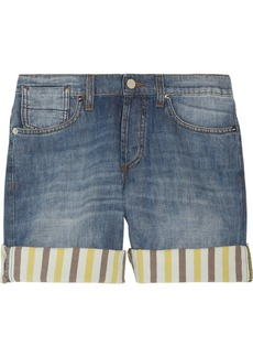 Marni Striped-cuff denim shorts