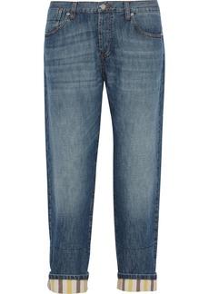 Marni Striped-cuff mid-rise boyfriend jeans