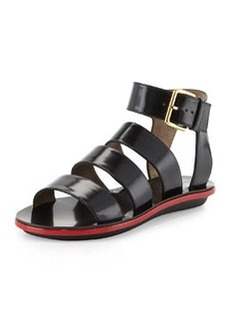 Marni Triple Strap Leather Sandal, Coal