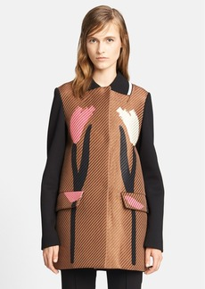 Marni Tulip Print Bonded Raffia Coat