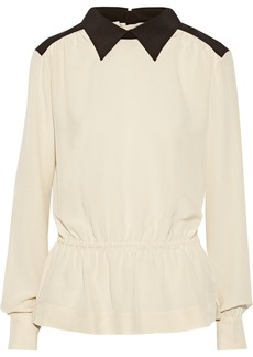 Marni Two-tone washed-silk blouse