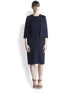 Marni Wool Crepe Capelet Dress