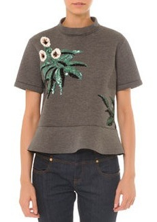 Short-Sleeve Embellished Top w/ Peplum   Short-Sleeve Embellished Top w/ Peplum