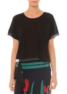 Short-Sleeve Sweater w/ Colorblock Trim   Short-Sleeve Sweater w/ Colorblock Trim