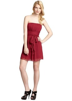 Max & Cleo berry shirred crinkle chiffon tie belted 'Katrina' dress