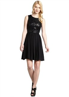 Max & Cleo black chiffon sequin striped netted overlay 'Lucy' dress
