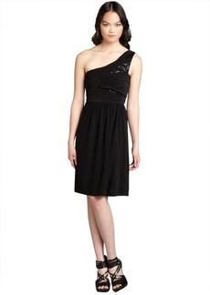 Max & Cleo black jersey knit sequin embellished one shoulder 'Emilly' dress