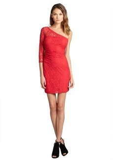 Max & Cleo burnt poppy cotton blend lace 'Amanda' one sleeve dress