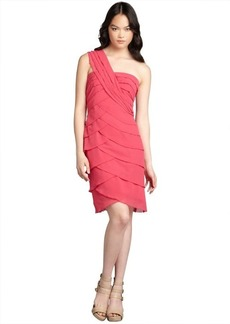 Max & Cleo cosmic pink chiffon one shoulder 'Lynn' cocktail dress