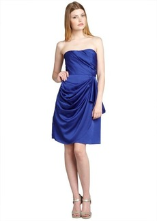 Max & Cleo dragonfly blue pleated and draped 'Lulu' strapless party dress