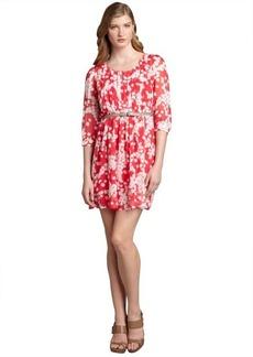 Max & Cleo fuchsia berry printed and pleated chiffon 'Johanna' belted dress