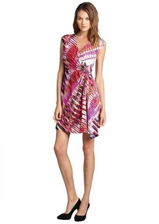 Max & Cleo orchid printed jersey surplice v-neck 'Stacy' dress