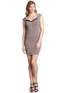 Max & Cleo taupe jersey knit tiered lace trimmed 'Susan' dress